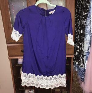 blue GB girls lace/crochet dress! size medium.